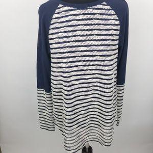 NWOT Lou Grey SZ S blue white long sleeve shirt